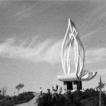 The dramatic Korean War Memorial dominates the skyline of Kunsan Park